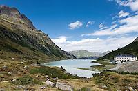 Austria, Vorarlberg, Montafon: Lake Vermunt, reservoir at Silvretta-Hochalpenstrasse | Oesterreich, Vorarlberg, Montafon: der Vermuntsee, Stausee an der Silvretta-Hochalpenstrasse der als Wochenspeicher dient