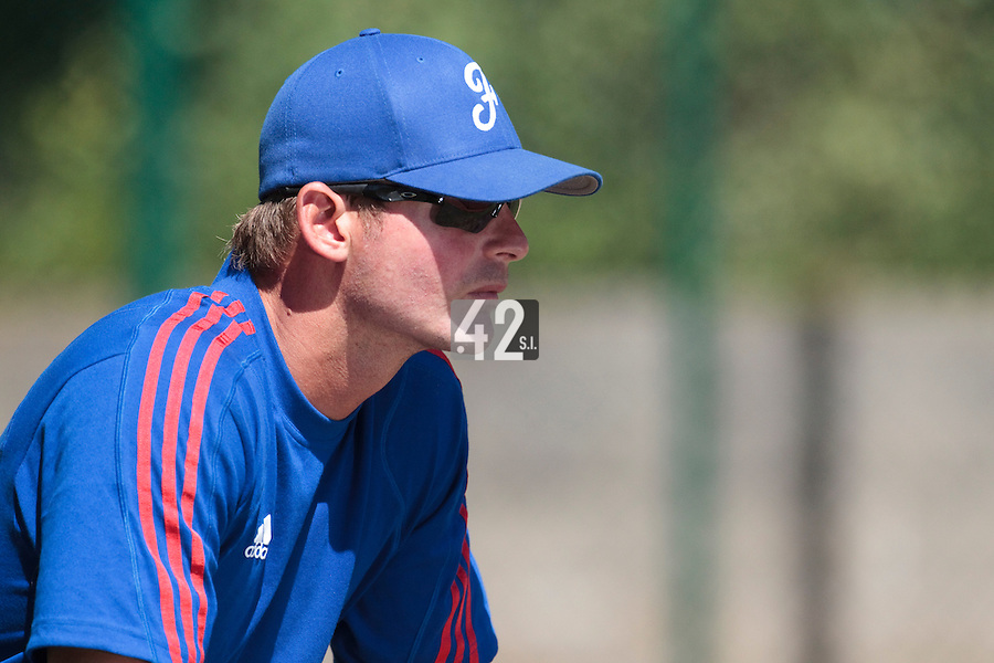 18 July 2010: Pitching coach of Team France Jeff Zeilstra is seen during day 6 of the Open de Rouen, an international tournament with Team France, Team Saint Martin, Team All Star Elite, at Stade Pierre Rolland, in Rouen, France.