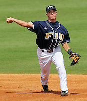 24 February 2008: Florida International shortstop Junior Arrojo (13) throws to first in the Southern California 12-7 victory over FIU at University Park Stadium in Miami, Florida.