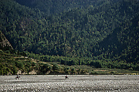 Valley of dry Kali Gandaki river in the Annapurna Circuit, Nepal, Asia.  Altitude: 2.590.