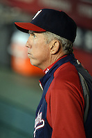 Washington Nationals manager Davey Johnson (5) in the dugout before a game against the Arizona Diamondbacks at Chase Field on September 28, 2013 in Phoenix, Arizona.  Washington defeated Arizona 2-0.  (Mike Janes/Four Seam Images)