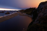 Harris Beach at dusk, Harris Beach State Park, Brookings, Oregon, USA, North America