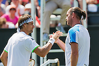 18-06-13, Netherlands, Rosmalen,  Autotron, Tennis, Topshelf Open 2013, , Xavier Malisse  defeats  Ferrer and gets the handshake <br /> Photo: Henk Koster