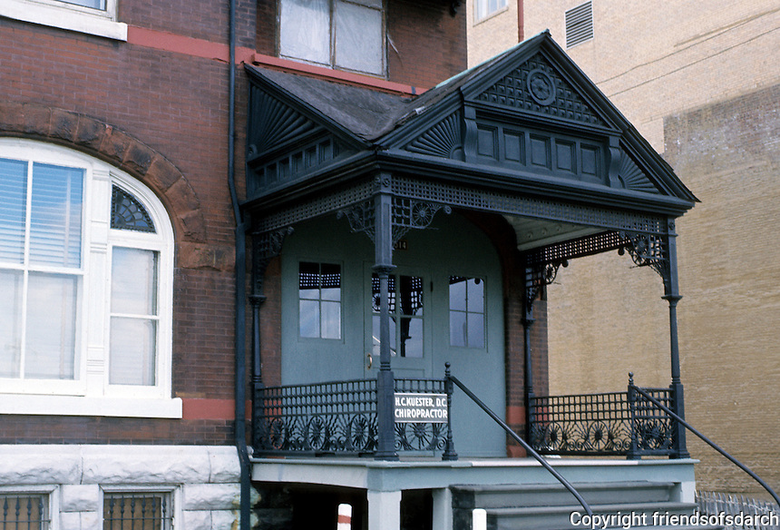 St. Louis: Cast iron front porch, 3514 Delmar St. (Note: Latest use for this mansion--a photo gallery.) Photo '78.