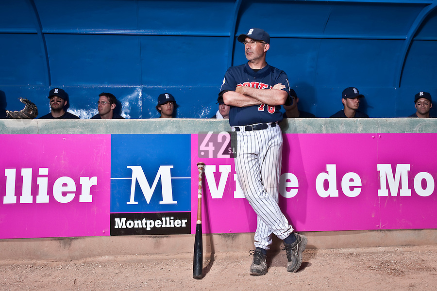 24 May 2009: Francois Colombier of Rouen stands in front of the dugout prior to the final game during the 2009 challenge de France, a tournament with the best French baseball teams - all eight elite league clubs - to determine a spot in the European Cup next year, at Montpellier, France. Rouen wins 7-5 over Savigny.