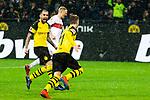 09.03.2019, Signal Iduna Park, Dortmund, GER, 1.FBL, Borussia Dortmund vs VfB Stuttgart, DFL REGULATIONS PROHIBIT ANY USE OF PHOTOGRAPHS AS IMAGE SEQUENCES AND/OR QUASI-VIDEO<br /> <br /> im Bild   picture shows:<br /> Marco Reus (Borussia Dortmund #11) jubelt mit Paco Alcacer (Borussia Dortmund #9) nach verwandeltem Elfmeter zum 1:0, <br /> <br /> Foto &copy; nordphoto / Rauch