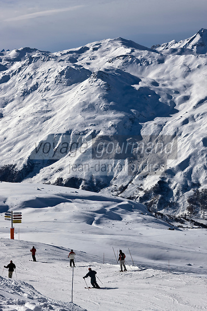 Europe/France/Rhone-Alpes/73/Savoie/Méribel: le domaine skiable des Troix Vallées vers la Vallée de Belleville