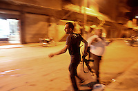 Photographer: Rick Findler..27.04.12 A member of the Free Syrian Army runs toward gunfire after President Assad's forces opened fire on an Anti-Assad rally in Armanaz, Northern Syria.