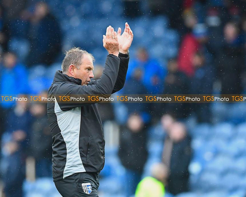 Gillingham Manager Steve Lovell applauds the travelling Gillingham  supporters at the end of the match during Portsmouth vs Gillingham, Sky Bet EFL League 1 Football at Fratton Park on 6th October 2018