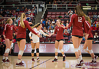 Stanford, CA - October 18, 2019: Kate Formico, Jenna Gray, Morgan Hentz, Meghan McClure, Audriana Fitzmorris at Maples Pavilion. The No. 2 Stanford Cardinal swept the Colorado Buffaloes 3-0.