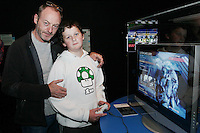 NO REPRO FEE. 20/9/2010. Game On Exhibition.  Liam Cunningham and his son Liam are pictured at the opening of the Game On Exhibition at Dublin's Ambassador Theatre. Game On is an action packed gaming exhibition with fun for all the family.  Enjoy a totally interactive experience with rare memorabilia and play your way through over 120 playable games from the arcade classics to the latest releases. Now running  at the Ambassador Theatre for a limited run. Tickets from 10 euro including booking fee on sale now  See Ticketmaster.ie and Gameon-Dublin.ie for family and group discounts plus more details. Picture James Horan/Collins Photos