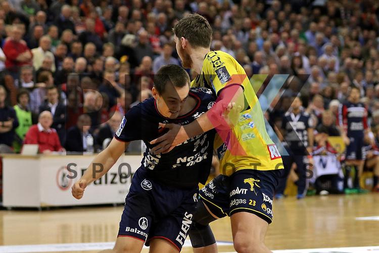 Flensburg, 02.12.15, Sport, Handball, DKB Handball Bundesliga, Saison 2015/2016, SG Flensburg-Handewitt-Rhein-Neckar L&ouml;wen :  Henrik Toft Hansen (SG Flensburg-Handewitt, #23), Hampus Wanne (SG Flensburg-Handewitt, #14)<br /> <br /> Foto &copy; PIX-Sportfotos *** Foto ist honorarpflichtig! *** Auf Anfrage in hoeherer Qualitaet/Aufloesung. Belegexemplar erbeten. Veroeffentlichung ausschliesslich fuer journalistisch-publizistische Zwecke. For editorial use only.