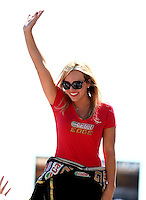 Jul. 21, 2013; Morrison, CO, USA: NHRA top fuel dragster driver Brittany Force during the Mile High Nationals at Bandimere Speedway. Mandatory Credit: Mark J. Rebilas-