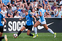 Kansas City, MO - Wednesday August 16, 2017: Brittany Taylor, Alanna Kennedy during a regular season National Women's Soccer League (NWSL) match between FC Kansas City and the Orlando Pride at Children's Mercy Victory Field.
