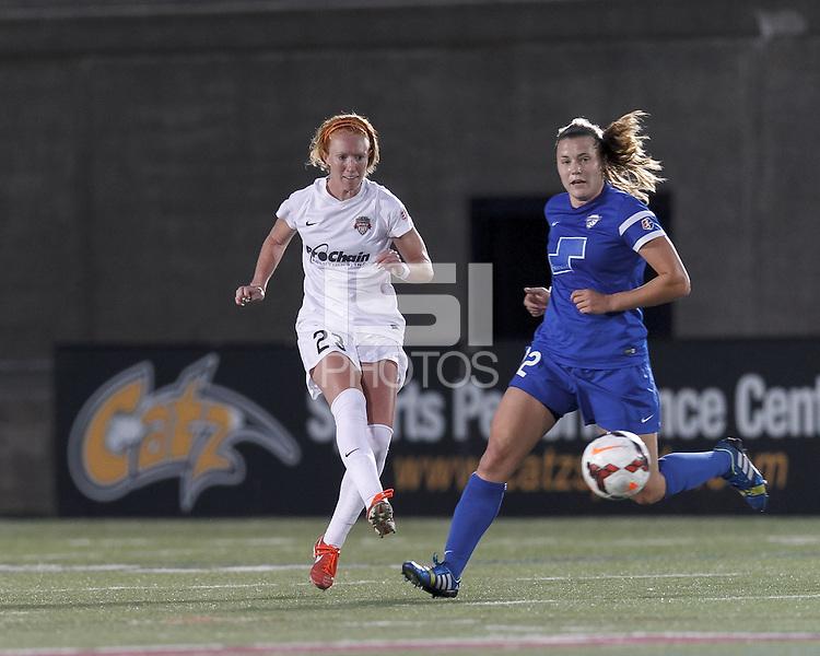 Allston, Massachusetts - June 11, 2014:  In a National Women's Soccer League (NWSL) match, Boston Breakers (blue) defeated Washington Spirit (white), 2-0, at Harvard Stadium.