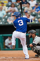 Oklahoma City Dodgers designated hitter Austin Barnes (3) at bat during the Pacific Coast League baseball game against the Nashville Sounds on June 12, 2015 at Chickasaw Bricktown Ballpark in Oklahoma City, Oklahoma. The Dodgers defeated the Sounds 11-7. (Andrew Woolley/Four Seam Images)