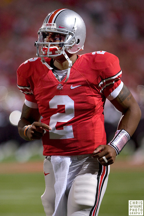 12 September 2009:  Football -- Ohio State quarterback Terrelle Pryor enters the field for their game against USC at Ohio Stadium in Columbus.  USC won 18-15.  Photo by Christopher McGuire.