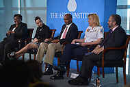 Washington, DC - April 8, 2014:  Panelists participate in the 'Symposium on Race in America' sponsored by The Aspen Institute at the Newseum. (L-R) Courtney Gaskins, Withelma Ortiz Walker Pettigrew, Daniel Isom, Chief Cathy Lanier and moderator Ray Suarez. (Photo by Don Baxter/Media Images International)