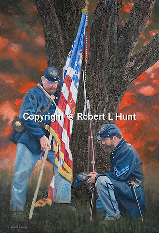 "Two Union soldiers remember their fallen friend after the Civil War battle of Gettysburg in Pennsylvania, 1863. Oil on canvas, 26 "" x 18""."