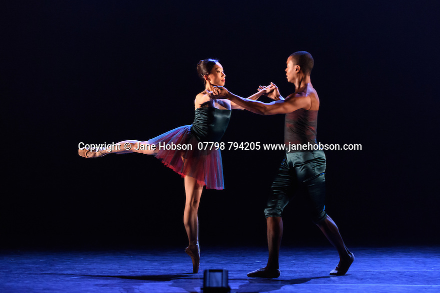 Ballet Black presents a triple bill of work at the Barbican Theatre. The piece shown is: House of Dreams, choreographed by Michael Corder. The dancers are: Sayaka Ichikawa, Damien Johnson, Marie Astrid Mence, Jacob Wye.