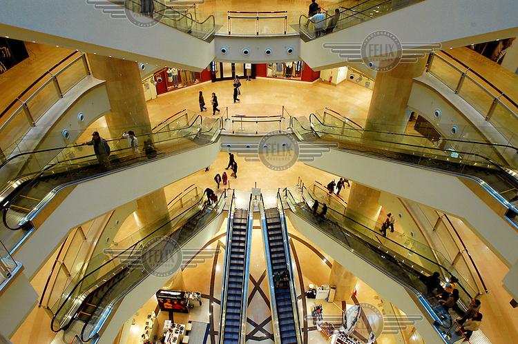 Escalators in the Taipei 101 shopping mall.
