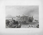 Engravings of Scottish landscapes and buildings from late eighteenth and early nineteenth century, Ailsa Craig from Turnbury Castle, Firth of Clyde, Scotland