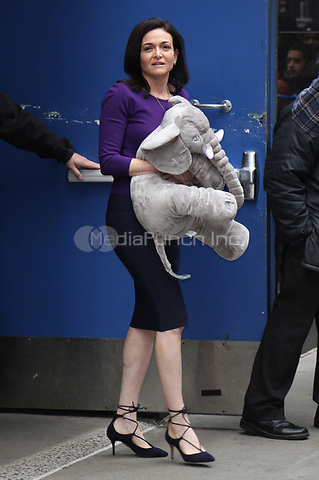 NEW YORK, NY - APRIL 24: Sheryl Sandberg seen exiting ABC studios after an appearance on Good Morning America in New York City on April 24, 2017. Credit: RW/MediaPunch