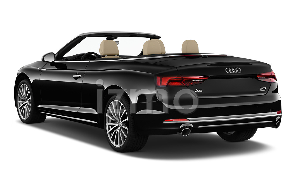 Car pictures of rear three quarter view of a 2018 Audi A5 Cabriolet Premium Plus 2 Door Convertible angular rear