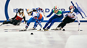 2nd February 2019, Dresden, Saxony, Germany; World Short Track Speed Skating; final, 1000 meters  womens in the EnergieVerbund Arena : (2nd from left) winner Sofia Proswirnowa (l) from Russia next to Cynthia Mascitto from Italy  and Choi Jihyun from South Korea. Behind the trio, Alyson Charles from Canada falls into the boards