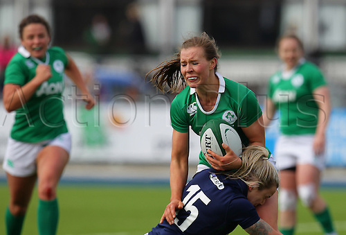 20.03.2016. Donnybrook, Dublin, Ireland. RBS Womens Six Nations Championships. Ireland versus Scotland. Claire McLaughlin of Ireland tackled by Chloe Rollie of Scotland.