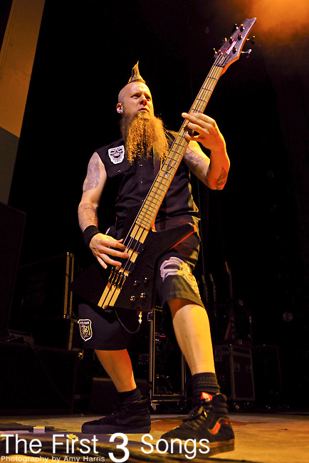Bassist MATT SNELL of Five Finger Death Punch performs live at Riverbend Music Center in Cincinnati, Ohio on October 17, 2010.
