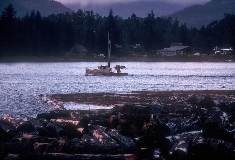 Alaska, Southeast Alaska, Ketchikan, Tongass Narrows, Pennock Island, salmon troller, log boom, winter