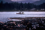 Alaska, Southeast Alaska, Ketchikan, Tongass Narrows, Pennock Island, salmon troller, log boom, winter