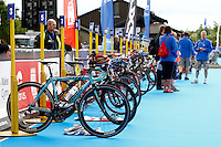 Photo: Richard Lane/Richard Lane Photography. British Triathlon Super Series, Parc Bryn Bach. 18/07/2009. .Cycles in the Women's Elite Race transition area.