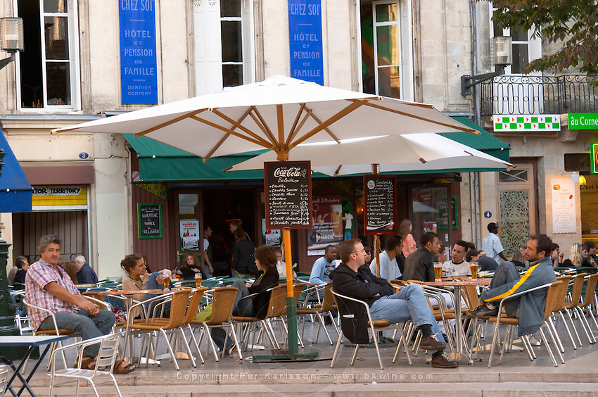 A cafe. Rue Sainte Catherine. Bordeaux city, Aquitaine, Gironde, France