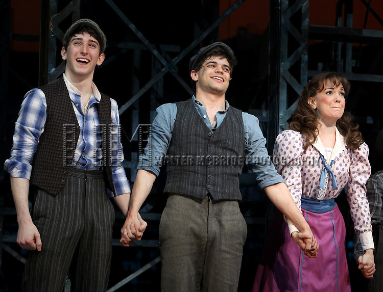 Ben Frankhauser, Jeremy Jordan & Kara Lindsay.during the 'NEWSIES' Opening Night Curtain Call at the Nederlander Theatre in New York on 3/29/2012