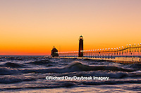 64795-01106 Grand Haven South Pier Lighthouse at sunset on Lake Michigan, Ottawa County, Grand Haven, MI