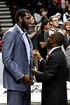 12/26/11--Greg Odem talks with Trail Blazers president Larry Miller before the season opener with the Philadelphia 76ers at the Rose Garden...Photo by Jaime Valdez. .........................................