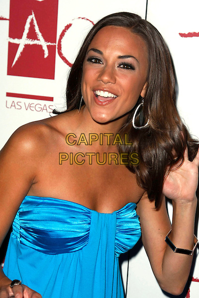 "JANA KRAMER .Tao celebrates the release of the number 1 movie in America, ""Prom Night"" held at the Venetian Hotel and Casino, Las Vegas, Nevada, USA,.18 April 2008.portrait headshot  blue strapless hand touching hair .CAP/ADM/MJT.©MJT/Admedia/Capital Pictures"