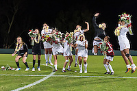 STANFORD, CA - October 21, 2012: Seniors during the Senior Day celebration after the Stanford vs Washington women's soccer match in Stanford, California.  Stanford won 3-0.