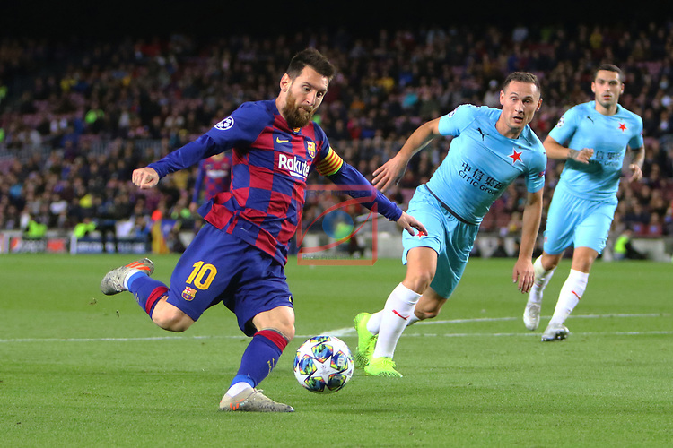 UEFA Champions League 2019/2020.<br /> Matchday 4.<br /> FC Barcelona vs SK Slavia Praha: 0-0.<br /> Lionel Messi vs Jan Boril.