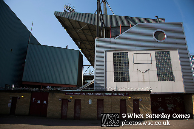 West Ham United 2 Crystal Palace 2, 02/04/2016. Boleyn Ground, Premier League. An exterior view of the Sir Trevor Brooking Stand at the Boleyn Ground, pictured before West Ham United hosted Crystal Palace in a Barclays Premier League match. The Boleyn Ground at Upton Park was the club's home ground from 1904 until the end of the 2015-16 season when they moved into the Olympic Stadium, built for the 2012 London games, at nearby Stratford. The match ended in a 2-2 draw, watched by a near-capacity crowd of 34,857. Photo by Colin McPherson.