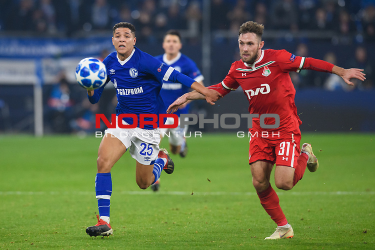 11.12.2018, VELTINS Arena, Gelsenkirchen, Deutschland, GER, UEFA Champions League, Gruppenphase, Gruppe D, FC Schalke 04 vs. FC Lokomotiv Moskva / Moskau<br /> <br /> DFL REGULATIONS PROHIBIT ANY USE OF PHOTOGRAPHS AS IMAGE SEQUENCES AND/OR QUASI-VIDEO.<br /> <br /> im Bild Zweikampf zwischen Amine Harit (#25 Schalke) und Maciej Rybus (#31 Moskau)<br /> <br /> Foto &copy; nordphoto / Kurth