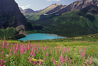 AJ3612, Glacier National Park, glacier lake, Montana, Rocky Mountains, Waterton-Glacier International Peace Park, A scenic view of Grinnell Lake and the mountains in Glacier National Park in the state of Montana.