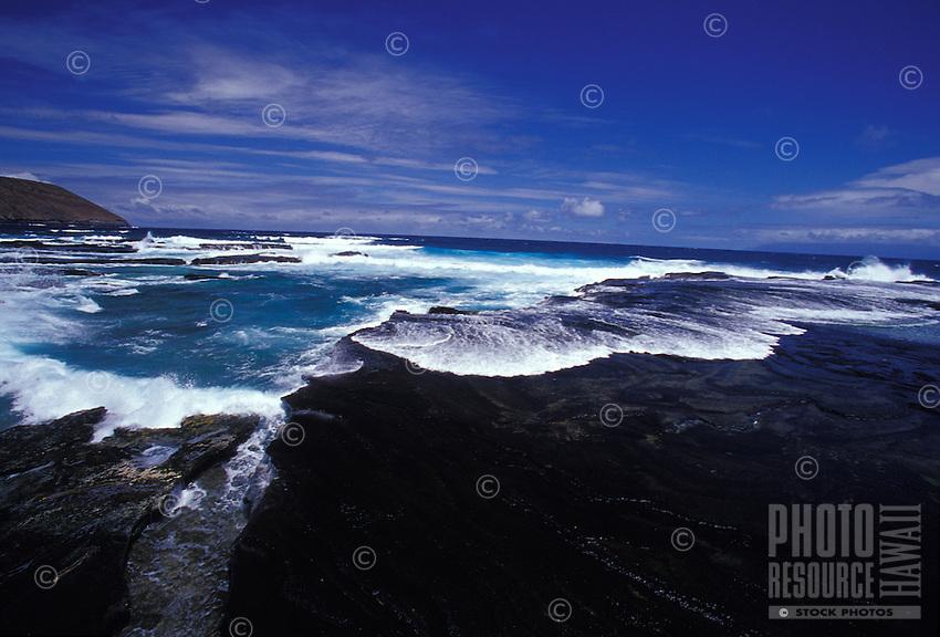 Niihau Coastline. Pristine natural coast,  reefs, and clear blue water.