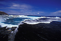 Niihau Coastline. Pristine natural coast,  reefs, and clear blue water.