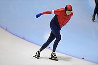 SCHAATSEN: HEERENVEEN: Thialf, 4th Masters International Speed Skating Sprint Games, 25-02-2012, Ludwig Meijering (M75) 3rd, ©foto: Martin de Jong