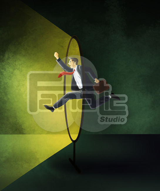 Illustrative image of businessman in mid air represents conquering adversity