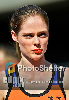 24 July 2012: Fashion model Coco Rocha enjoys some pre-game activities on the field prior to a game between the Washington Nationals and the New York Mets at Citi Field in Flushing, NY. Rocha was introducing a line of attire for fans of the New York Mets. The Nationals defeated the Mets 5-2 to take the second game of their 3-game series. Mandatory Credit: Ed Wolfstein Photo