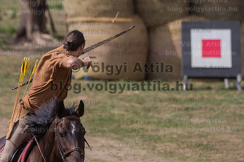 Daniel Griffin of South Africa shoots his arrow to hit a target during the European Open Championship of Horseback Archery in Veroce, about 60 km (37 miles) north of the capital Budapest, Hungary on August 31, 2012. ATTILA VOLGYI